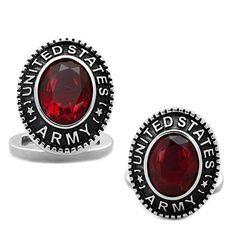 Army: Mens 6ct Oval cut Siam Ruby Crystal United States Army Cufflinks - Trustmark Jewelers - Cufflinks