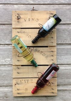 FREE SHIP! Wine rack ~ made from repurposed wood and bed springs ~ this ships free to USA