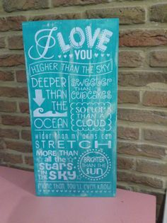 What a great way to put into words how much you love someone! This wonderful sign measures 12 x 24 with a thickness of 3/4 and comes with a hanger on the back for convenient display. I paint these signs in the colors of your choosing. Please include your colors request in the Note to Seller section at checkout. You can choose any background color and font color. You can also send me pictures of what you would like and I will match it. If there has been no special request, I will make the…