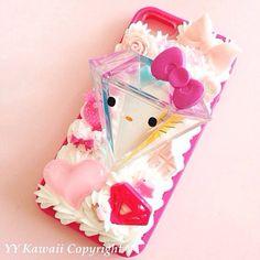 Kitty vs tokidoki diamond kawaii decoden phone case for iPhone 4/4s, 5, Samsung Galaxy S2 S3 S4, iPod touch, HTC One on Etsy, £14.39