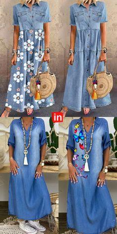 Boho Style Dresses, Modest Dresses, Simple Dresses, Casual Dresses, 60 Fashion, Fashion Dresses, Womens Fashion, Elisa Cavaletti, Denim Crop Top