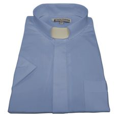 Men/'s Royal Blue Short Sleeve Full Collar Neckband Clergy Shirt w//Soft Collar