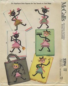 """Vintage Sewing Pattern for Stick Figures for Tea Towels or Tote Bag 