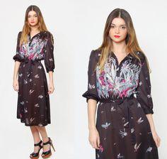 Vintage 70s SHEER Floral Dress Black Secretary Dress Gradient Floral Midi Dress by LotusvintageNY