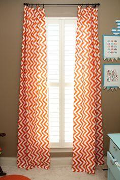 Stylish Coral chevron curtain