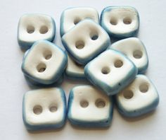 Very Small Square White and Blue Ceramic Buttons by buttonalia, $24.00