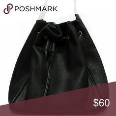 Black bucket bag Street level last one! Authentic leather great quality,  large, and trendy. Shoulder bag, 22 inches strap , not a crossbody Street level  Bags Shoulder Bags