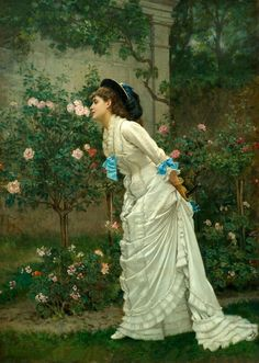 """""""A Girl and Roses"""" by Auguste Toulmouche #1879 #1870s.But very beautiful young lady and love the vintage dress ,AND  the beautiful Gardens"""