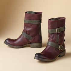 """PARK CREEK BOOTS�--�Like a love that never grows old, our two-tone, military-inspired leather boots only grow lovelier with time. Italy. Exclusive. Euro whole sizes 36 to 41. 36 (US 6.5), 37 (US 7.25), 38 (US 8), 39 (US 8.75) 40 (US 9.5), 41 (US 10.25). 1-1/2"""" heel."""