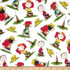 Camp Peanuts Character Toss White from @fabricdotcom  Designed by Peanuts Worldwide LLC for Quilting Treasures, this cotton print features a Peanut character motif. Perfect for quilting, apparel and home décor accents. Colors include white, black, red, green, blue, yellow and peach.