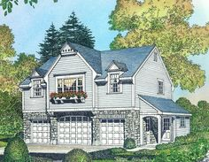 Country-style Garage Apartment - 43054PF | Architectural Designs - House Plans