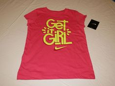 Nike active cotton t shirt youth Get It girls 6X 362522 A72 DK Hyper Pink NWT^^ #Nike