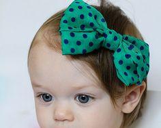 Cabelo azul chiffon verde e Marinha arco Headband Bolinha flor do vintage do bebê cabeça