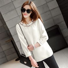 2015 spring women 's round neck long-sleeved blouse hollow solid USD$20.00