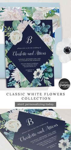Classic White Flowers Navy Collection by Fresh and Yummy Paperie. The elegant floral wedding invitation features soft ivory and white roses, peonies, and chrysanthemum with touches of periwinkle blue watercolor flowers and green foliage on a dark blue background. Click to customize and purchase yours today. Exclusively on Zazzle.com. #freshandyummypaperie #weddings #zazzle Periwinkle Wedding, Sage Green Wedding, Periwinkle Blue, Wedding Ideas Blue, Wedding Blue, Wedding Details, Green Wedding Invitations, Beautiful Wedding Invitations, Custom Invitations
