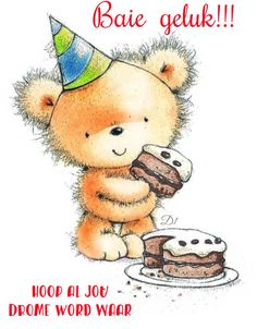 Happy Birthday By Cally Jane. (Little bear with cake)