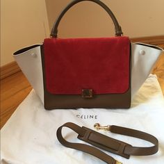 Hold!!!! AUTH Celine trapeze medium Red part is made of suede. Used but in great condition Celine Bags Shoulder Bags