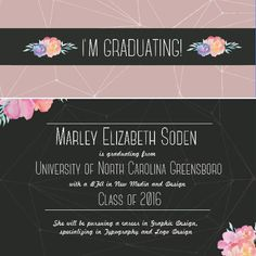If you're graduating and you know it, clap your hands  #graphicdesign #graduation #grad #uncg #design #typography #watercolor #flowers #geometric #gso #graduationannouncements