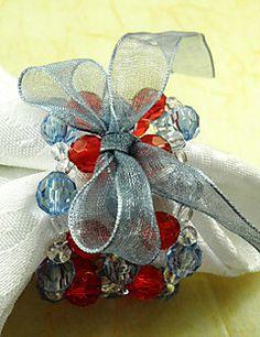 Bowknot Acrylic Beads Napkin Ring, Dia4.2-4.5cm Set of 12 – CAD $ 26.40