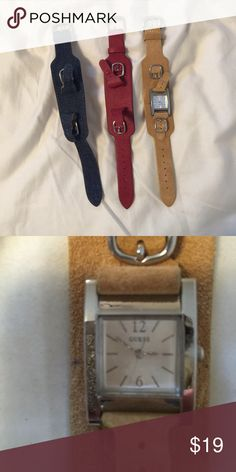 Guess watch with changeable straps Straps are leather in tan suede, red leather, and denim Guess Jewelry Bracelets