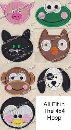 Applique Animals Design Set by 8clawsandapaw on Etsy, $8.95