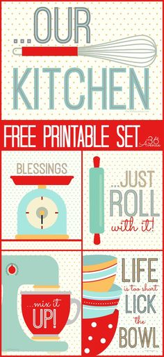 Super CUTE Kitchen Free Printable Set! #retro #home #decor #printables