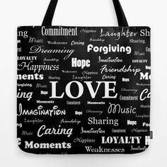 """""""Love is Black & White"""" tote bag by George Barakoukakis. Our quality crafted Tote Bags are hand sewn in America using durable, yet lightweight, poly poplin fabric. All seams and stress points are double stitched for durability. They are washable, feature original artwork on both sides and a sturdy 1"""" wide cotton webbing strap for comfortably carrying over your shoulder."""