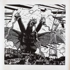 King Gidorrah versus Sutro Tower. A linocut print by SF-based, husband-and-wife duo Annie Galvin and Eric Rewitzer. $500