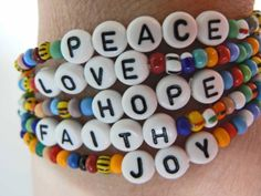 Words to Live By PEACE LOVE HOPE Faith Joy Beaded Bracelets Colorful Rainbow Bracelets Inspirational Quote mlk Day Remembrance