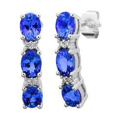 14K White Tanzanite and Diamond Earrings 2.76 TCW - http://www.tanzanite.com/product-p/tze26374.htm
