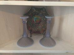 Vintage Lilac Opalescent English Hobnail Candlestick holders. $