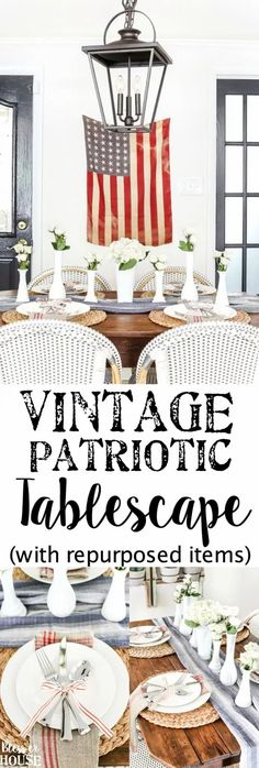Vintage Patriotic Tablescape | blesserhouse.com - 5 tips for decorating a vintage patriotic tablescape on a budget for July 4th, Veteran's Day, or Memorial Day using repurposed items. Memorial Day, Homemade Chandelier, Diy Home Decor Rustic, Farmhouse Side Table, Modern Farmhouse, Boho Home, Décor Boho, Diy Garden, Repurposed Items