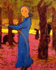bofransson:  Girl with a Hoop Edouard Vuillard - circa 1891. Can you see why I pinned this on Yikes?