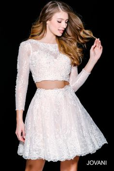Two-Piece Lace-Top Long-Sleeve Homecoming Dress | Conference ...