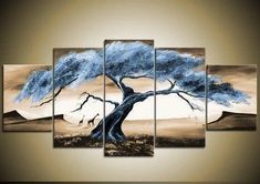 Large Acrylic Painting, Tree of Life Painting, Abstract Painting, 5 Pi – Art Painting Canvas 5 Piece Canvas Art, Abstract Canvas Art, Canvas Wall Art, Painting Abstract, Large Canvas, Acrylic Art, Framed Canvas, Multiple Canvas Paintings, Canvas Paintings For Sale