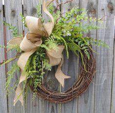 Succulent Wreath - Wreath Great for All Year Round - Everyday Burlap Wreath, Door Wreath, Front Door Wreath
