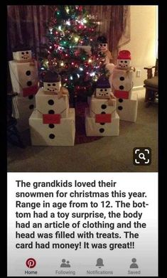 Snowman Gift Towers Keep Christmas Gifts Minimal And Fun - Weihnachten Best Christmas Gifts, Christmas Snowman, Christmas Time, Christmas Morning, Snowman Door, Christmas Gift From Baby, Winter Christmas Presents, Traditional Christmas Gifts, Diy Xmas Gifts