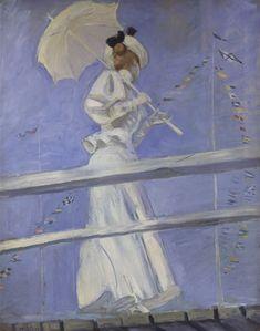 Paul-César Helleu, «Jeune femme à l'ombrelle debout sur une estacade», 1898 Huile sur toile, H. 92 cm, L. 75 cm, signature en bas à gauche Paris, musée des Arts Décoratifs,