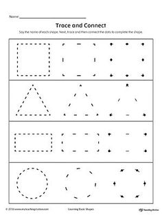 Trace and Connect Dots to Draw Shapes: Square, Triangle, Rectangle, Circle. Practice drawing geometric shapes by tracing and connecting the dots to form the square, triangle, rectangle, circle shapes.