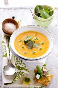Butternut Squash and Orange Cauliflower Soup from Design Sponge.  Rainbow Delicious Meal Plan Fall Week 10.