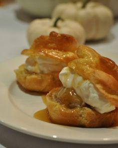 pumpkin cream puffs with caramel sauce