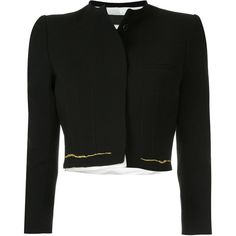 Haider Ackermann stitch detail cropped jacket ($1,715) ❤ liked on Polyvore featuring outerwear, jackets, black, haider ackermann, haider ackermann jacket, stitch jacket and cropped jacket