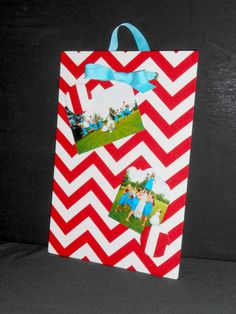 Valentine's Fabric Magnet Board  Chevron Red  by rememorydesigns
