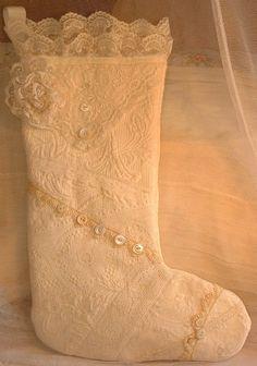 Ivory Lace Christmas Stocking