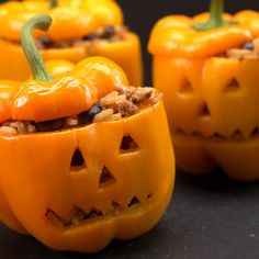 Stuffed peppers that look like little pumpkins. Perfect Halloween themed dinner. So easy to make.