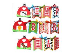 Items similar to Cute Farm Animal Party Theme Flag Style Large Happy Birthday Banner in Bright Colors With Barns Cow Pig Sheep Duck Horse Chick on Etsy Party Animals, Farm Animal Party, Animal Themed Birthday Party, Birthday Party Themes, Farm Party Decorations, Tractor Birthday, Happy Birthday Banners, Party Items, For Your Party