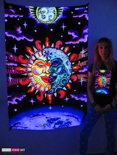 """Magic Sunmoon"" UV-Blacklight Fluorescent Glow Psychedelic Art Backdrop, £90 in Tripleview Art Shop. #psychedelic #psy #goa #trance #psytrance #goatrance #rave #club #festival #trippy #hippie #esoteric #mystic #spiritual #visionary #symbolism #UV #ultraviolet #blacklight #fluorescent #fluoro #fluo #neon #glow #luminescent #art #backdrop #banner #wallhanging #tapestry #deco #sunandmoon #sunmoon #kiss #yinyang #aum #om"