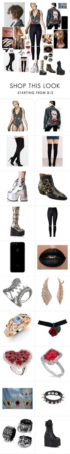 """Young fashion # 266"" by demacracy ❤ liked on Polyvore featuring Hazmat Design, Steve Madden, Demonia, Chloé, Current Mood, WithChic, WWE, Stephen Webster, BERRICLE and Diamondere"