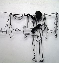Artwork which makes you look twice…and think twice.. wire sculpture by frank Plant » laundry
