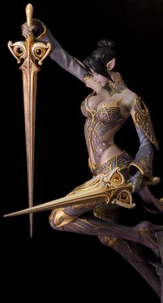 A wonderfully graceful sculpt by ORI . hand-painted with acrylics. If you would like to see more pics, please check out the collage I have uploaded he. Fantasy Art Women, Dark Fantasy Art, Fantasy Girl, Fantasy Artwork, Chica Fantasy, Elves Fantasy, Female Elf, Female Armor, Fantasy Characters
